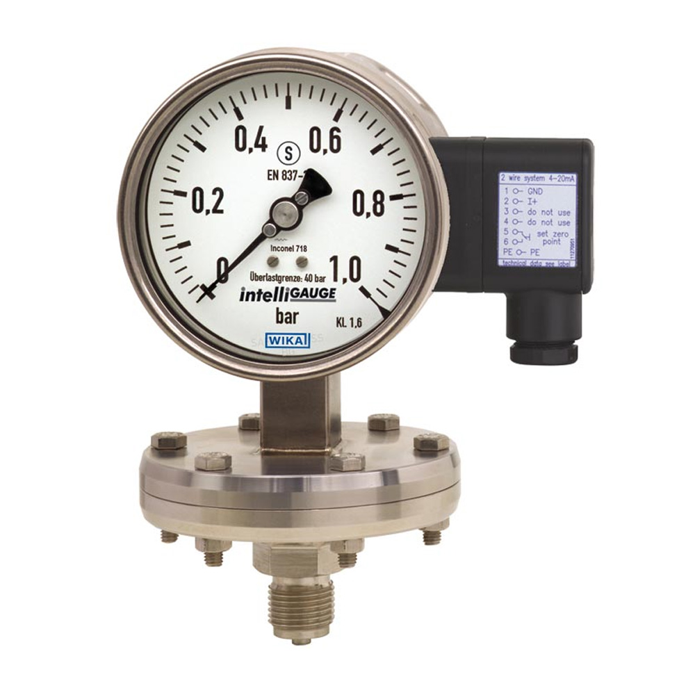 Diaphragm pressure gauge with electrical output signal Wika