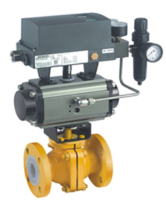 TEFLON LINED BALL VALVE WITH ROTARY ACTUATOR Pneucon Automation
